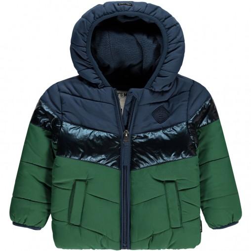 Abrigo bicolor con aspa...